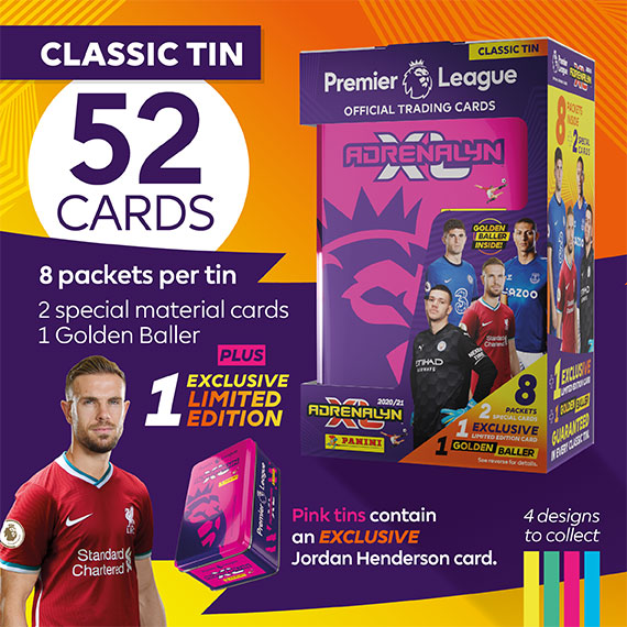Classic Tin with 52 cards: 8 packets per tin, 2 special material cards, 1 Golden baller + 1 exclusive Limited Edition. Green tins contain an EXCLUSIVE Jordan Enderson card.