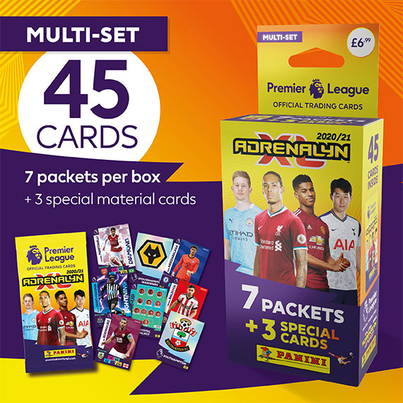 Multi-set with 45 cards: 7 packets per box + 3 special material cards