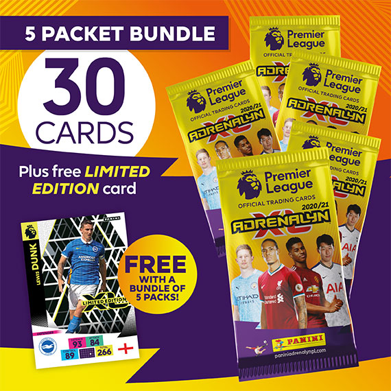 5 packet bundle/30 cards plus free LIMITED EDITION card (Lewis Dunk)