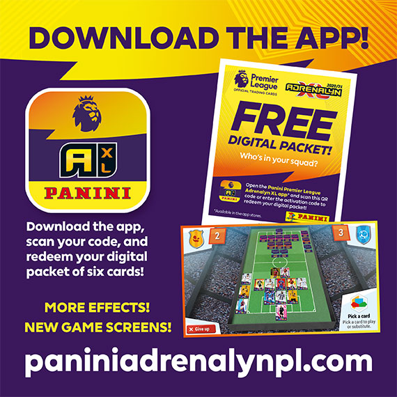 Download the App, scan your code and redeem your digital packet of six cards! More effects! New game screens! www.paniniadrenalynpl.com