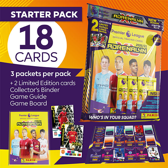 Starter pack 18 cards: 3 packets per pack + 2 Limited Edition cards + Collector's binder + Game Guide + Game Board