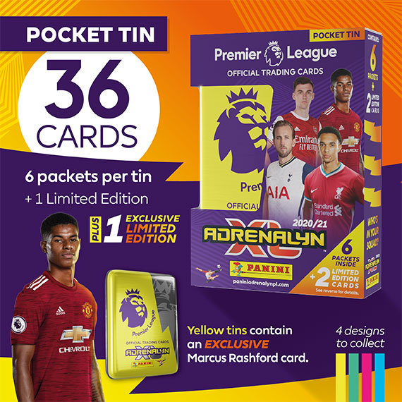 Pocket Tin with 36 cards: 6 packets per tin + 1 Limited Edition card + 1 exclusive Limited Edition. Yellow tins contain an EXCLUSIVE Marcus Rashford card.
