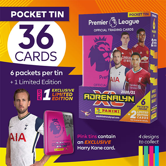 Pocket Tin with 36 cards: 6 packets per tin + 1 Limited Edition card + 1 exclusive Limited Edition. Pink tins contain an EXCLUSIVE Harry Kane card.