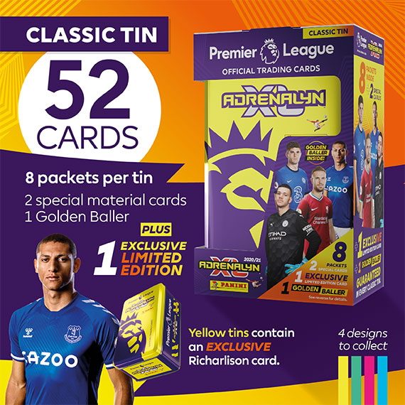 Classic Tin with 52 cards: 8 packets per tin, 2 special material cards, 1 Golden baller + 1 exclusive Limited Edition. Yellow tins contain an EXCLUSIVE Richarlison card.
