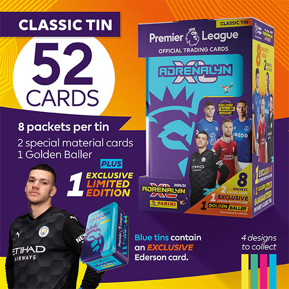Classic Tin with 52 cards: 8 packets per tin, 2 special material cards, 1 Golden baller + 1 exclusive Limited Edition. Blue tins contain an EXCLUSIVE Ederson card.