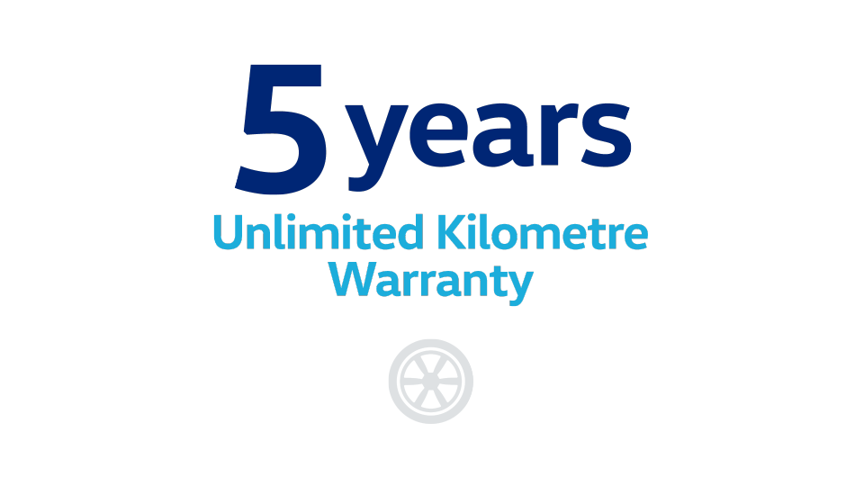 5 yrs unlimited km warranty
