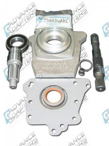 50-3000 : GM TH350 3 speed, 2wd automatic transmission to the Jeep / Scout Dana 18 & 20 transfer case (with 6 spline drive gear) adapter kit.