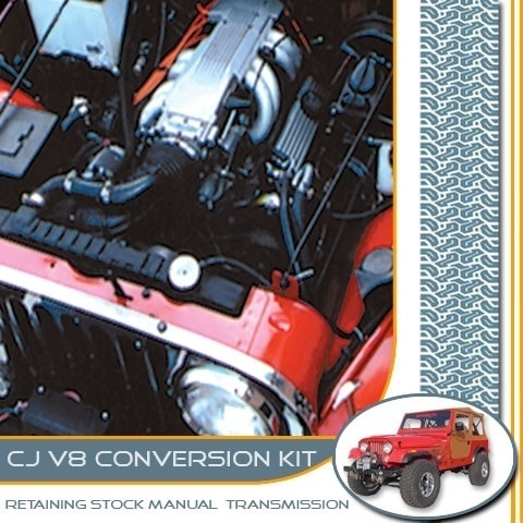 CP-CJ00X : Chevrolet / GM V8 Engine Conversion Package for 1980-1986 Jeep CJ's Retaining Factory Manual Transmissions