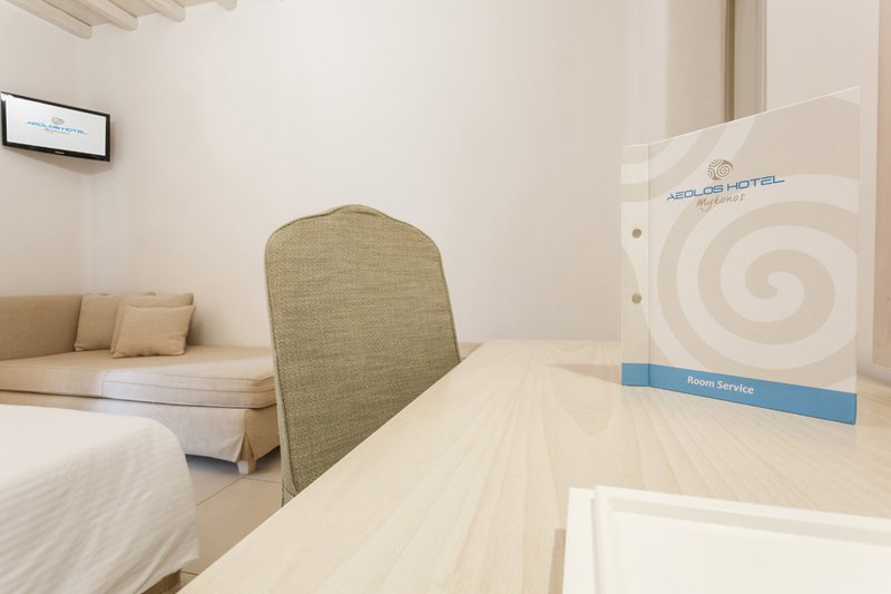 The desk of the room with the Room Service Catalogue, the chair and in the background the single bed with the TV above it