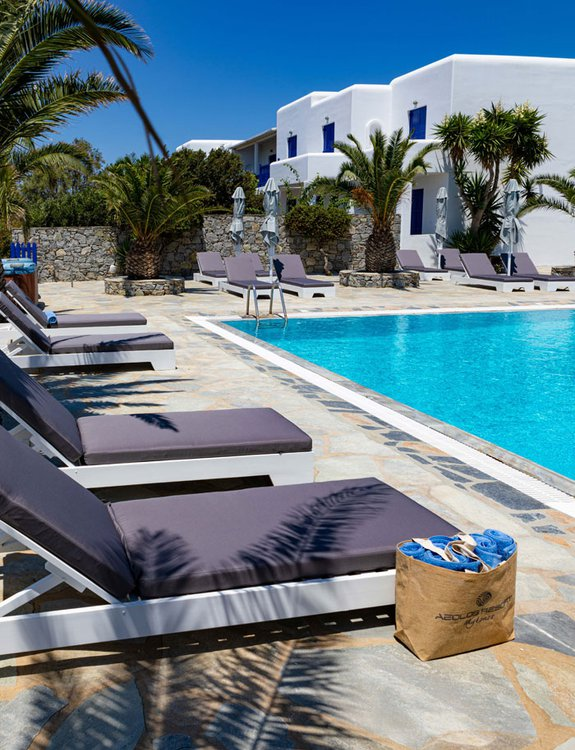 The sunbeds by the pool of the Daylight Wing, with the palm trees and the pool towels