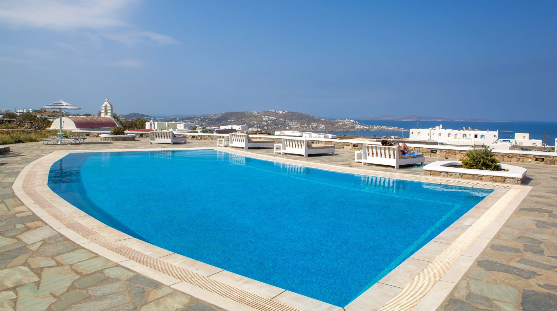 Our pool in sunset wing with overlooking Mykonos island