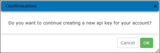 Confirm Create API Key Dialog