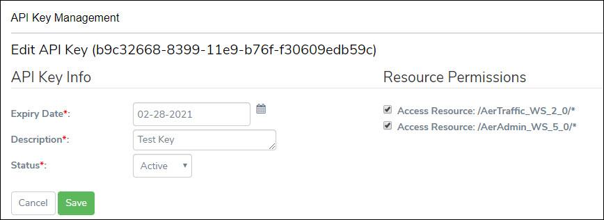 Edit API Key Screen