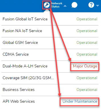 Network Status for Multiple Service Outages
