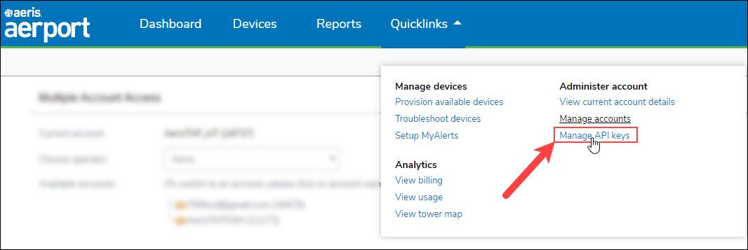 Quicklinks_Manage_API_Key_Option