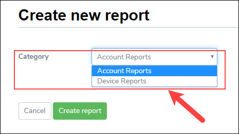 Selecting Report Category