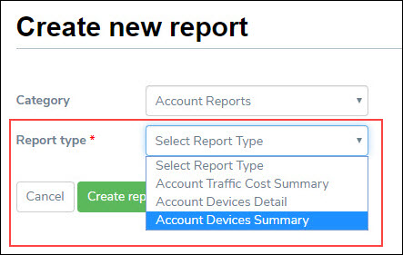 Selecting Report Type