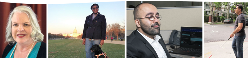 A collage of four pictures: a white woman, an African-American woman poses with her guide dog in Washington DC, a man with low vision at work, and a Pakistani-American man walking down a city street using his white cane.