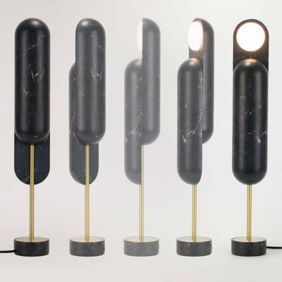 Offset lamp, special edition table lamp in black or white carrara marble, by Dan Yeffet