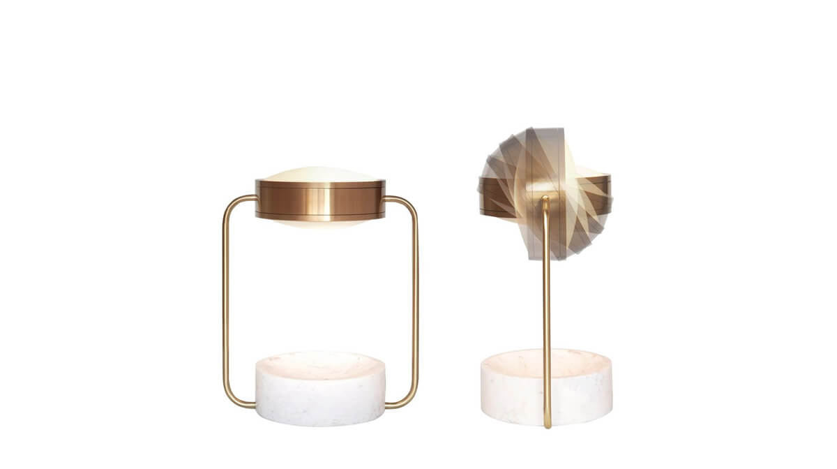 Mooncrater collection, white marble and brass lamps by Elliptic Circle Renaud Noret - AFFLUENCY, Unique by Design - Asia's premier destination to discover and shop online for Luxury furniture, unique home decor and design masterpieces