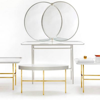 Olympia Stool by Nika Zupanc for Sé Collections - Imagined as a matching set with the Olympia dressing mirror and side table, the Olympia Stool stands out in the beauty realm as the historical Olympias queen
