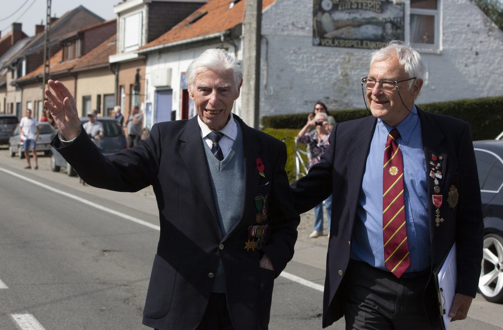 British veteran George Sutherland walked part of the way between the World War I cemetery and Talbot House to help raise funds for a soldiers' club