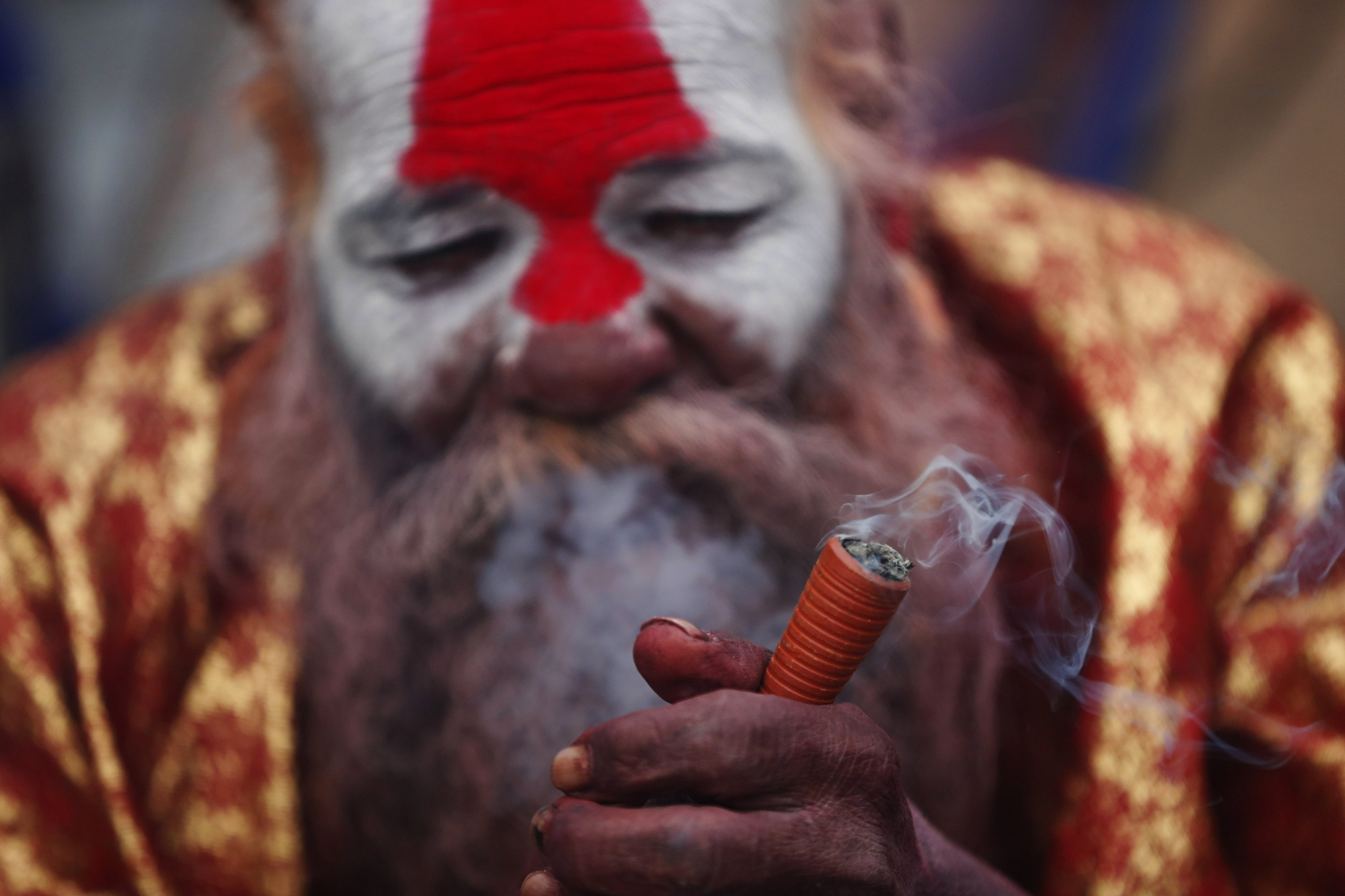 Thousands light up joints during Hindu festival in Nepal