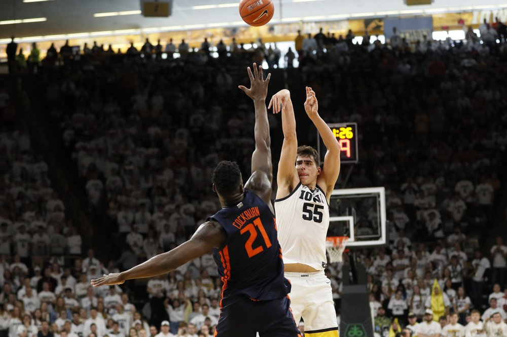 Iowa's junior center, Luka Garza had a strong showing in his team's loss to Illinois.  (Photo: Charlie Neibergall/The Associated Press)
