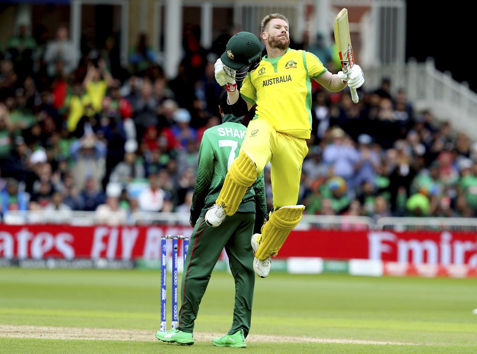 Warner hits 166 as Australia beats Bangladesh by 48 runs