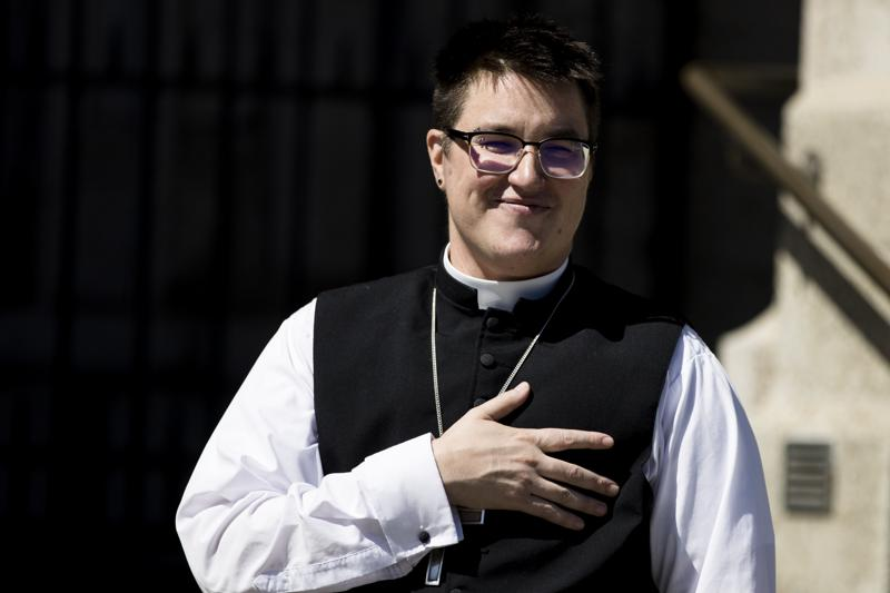 Bishop Megan Rohrer speaks to the press before their installation ceremony at Grace Cathedral in San Francisco, Saturday, Sept. 11, 2021. Rohrer is the first openly transgender person elected as bishop in the Evangelical Lutheran Church of America. (AP Photo/John Hefti)