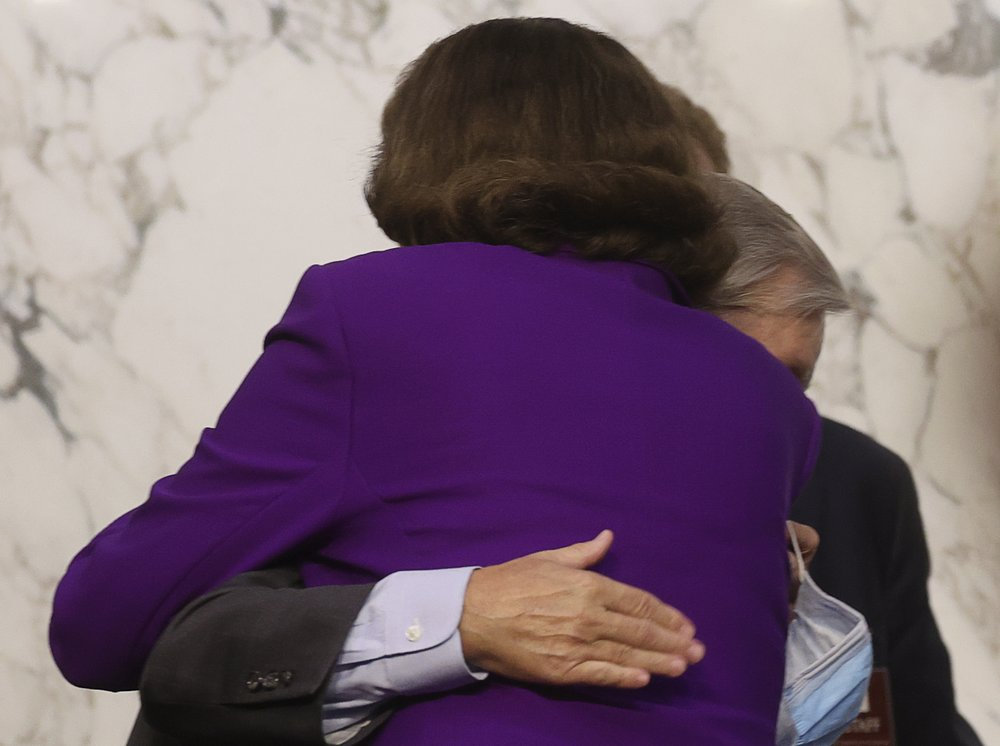 Democrats Outraged After Feinstein Praises, Hugs Lindsey Graham at the End of Amy Coney Barrett's Confirmation Hearing