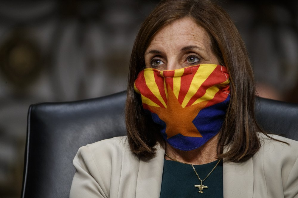 Martha McSally with Arizona flag face mask