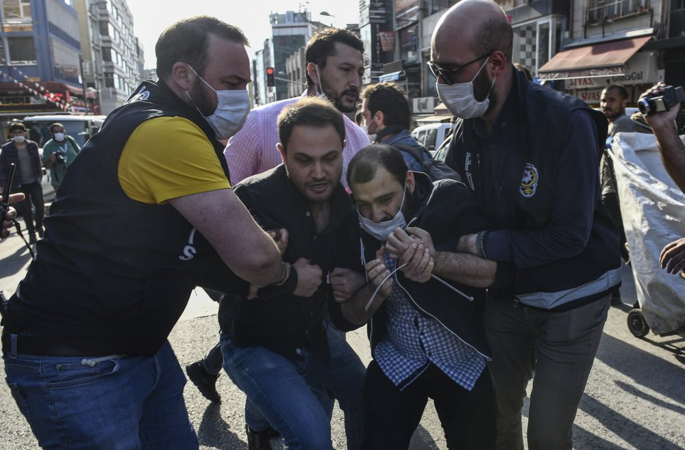 Police in Istanbul disperse a small group of demonstrators who gathered to denounce police violence and to show support for protesters in the United States