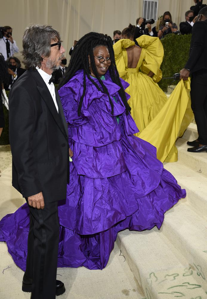 """Pierpaolo Piccioli, left, and Whoopie Goldberg attend The Metropolitan Museum of Art's Costume Institute benefit gala celebrating the opening of the """"In America: A Lexicon of Fashion"""" exhibition on Monday, Sept. 13, 2021, in New York. (Photo by Evan Agostini/Invision/AP)"""