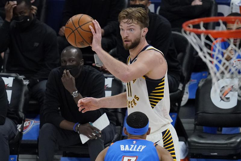 Domantas Sabonis triple-double by half; Indiana Pacers beat Oklahoma City Thunder 152-95