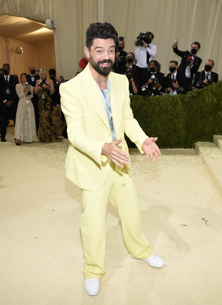 """Dominic Cooper attends The Metropolitan Museum of Art's Costume Institute benefit gala celebrating the opening of the """"In America: A Lexicon of Fashion"""" exhibition on Monday, Sept. 13, 2021, in New York. (Photo by Evan Agostini/Invision/AP)"""