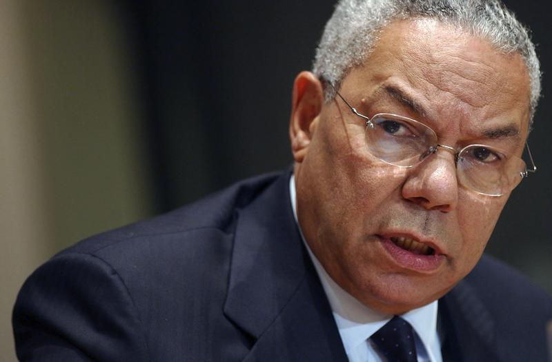 FILE - U.S. Secretary of State Colin Powell speaks during a news conference at the United Nations headquarters Friday, Sept. 26, 2003. Powell, former Joint Chiefs chairman and secretary of state, has died from COVID-19 complications. In an announcement on social media Monday, Oct. 18, 2021 the family said Powell had been fully vaccinated. He was 84. (AP Photo/Mary Altaffer)