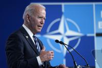 President Joe Biden speaks during a news conference at the NATO summit at NATO headquarters in Brussels, Monday, June 14, 2021. (AP Photo/Patrick Semansky)