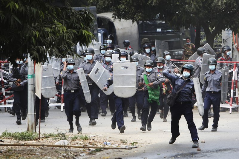 News AP Top News Police Myanmar Riots Yangon Asia Pacific 2 Myanmar protesters killed by police fire, reports say