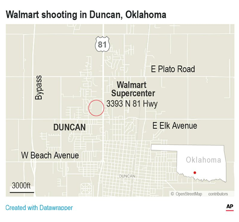 Police have confirmed that three people have been shot and killed at the Walmart in Duncan. (Credit: AP)
