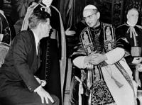 FILE - In this July 2, 1963, file photo President John F. Kennedy and Pope Paul VI talk at the Vatican. Kennedy's meeting with Pope Paul VI at the Vatican was historic: the first Roman Catholic president of the United States was seeing the Roman Catholic pontiff only days after his coronation. President Joe Biden is scheduled to meet with Pope Francis on Friday, Oct. 29, 2021. Biden is only the second Catholic president in U.S. history. (AP Photo, File)