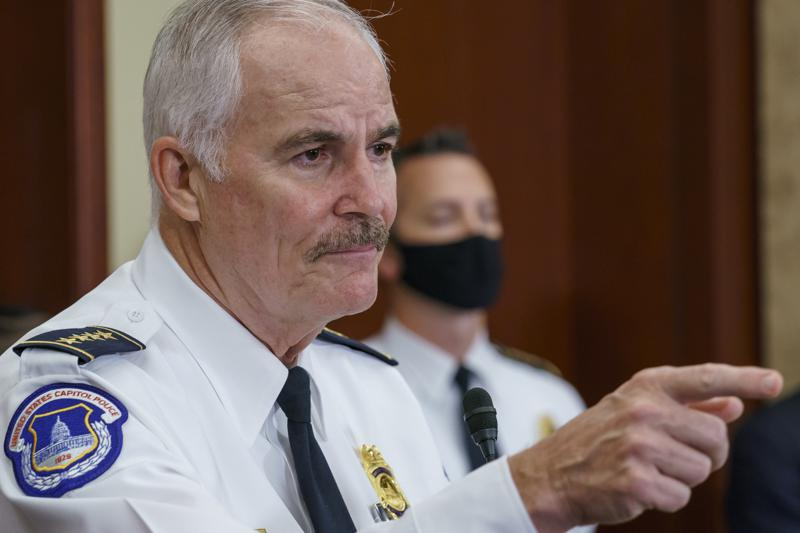 """U.S. Capitol Police Chief Tom Manger holds a news conference to discuss preparations for a weekend rally planned by allies of Donald Trump who support the so-called """"political prisoners"""" of the Jan. 6 attack on the Capitol, Friday, Sept. 17, 2021, at the Capitol in Washington, (AP Photo/J. Scott Applewhite)"""