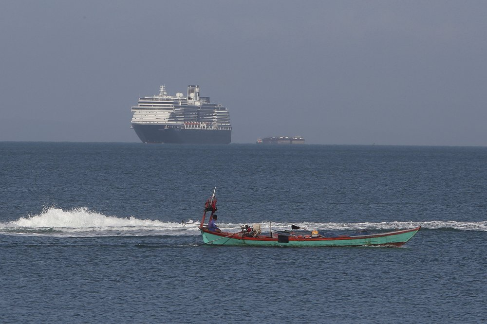 Cruise ship turned away in other ports anchors off Cambodia