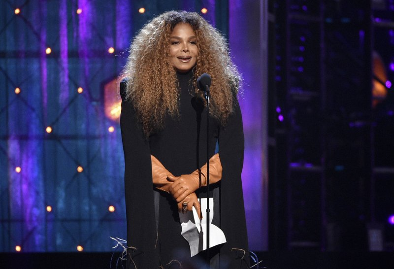 FILE - In this March 29, 2019 file photo, honoree Janet Jackson speaks at the Rock & Roll Hall of Fame induction ceremony in New York. (Photo by Evan Agostini/Invision/AP, File)