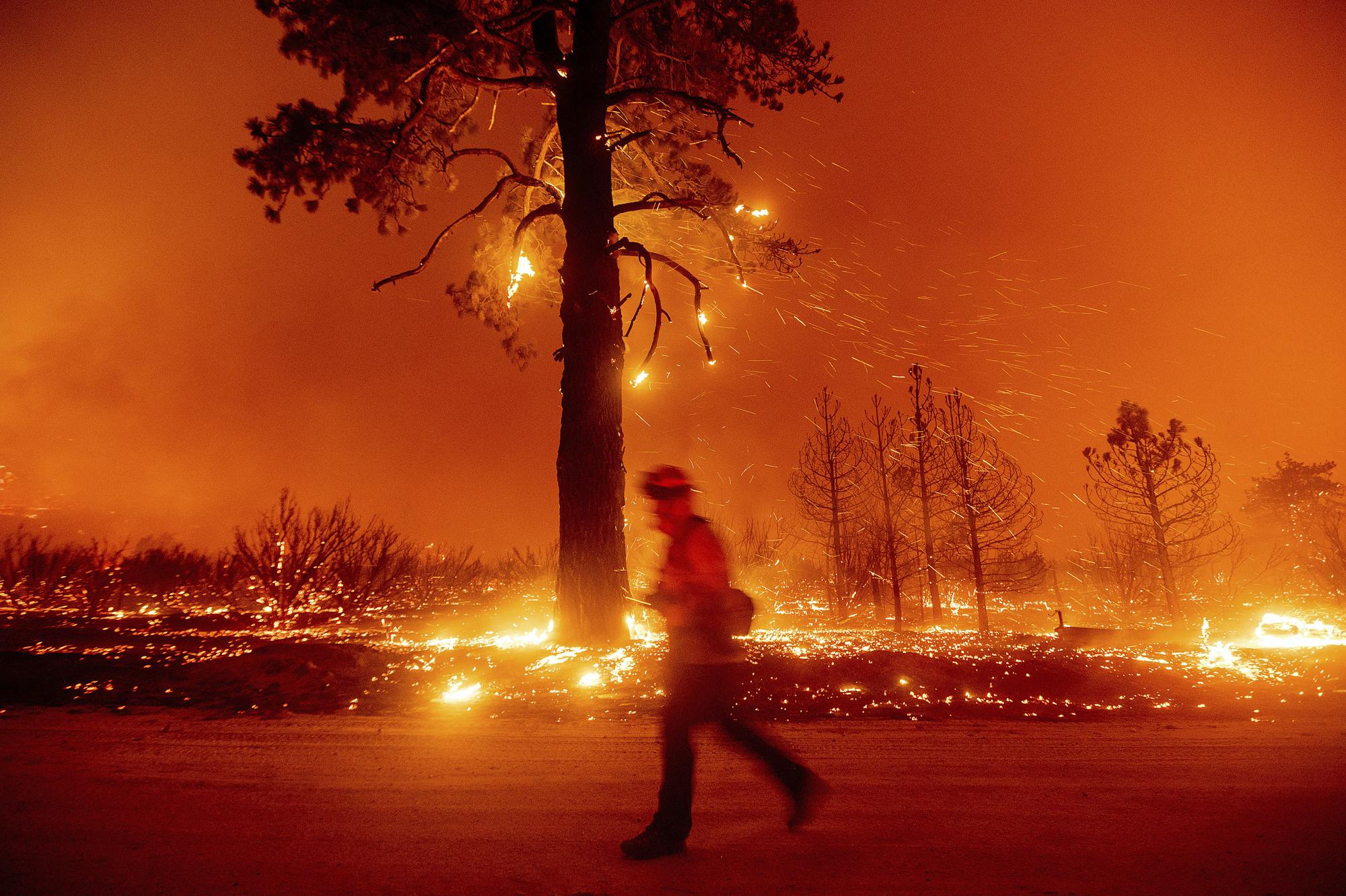 A firefighter battles the Dixie Fire shortly after it jumped Highway 395 south of Janesville in Lassen County, Calif., on Monday, Aug. 16, 2021. (AP Photo/Noah Berger)