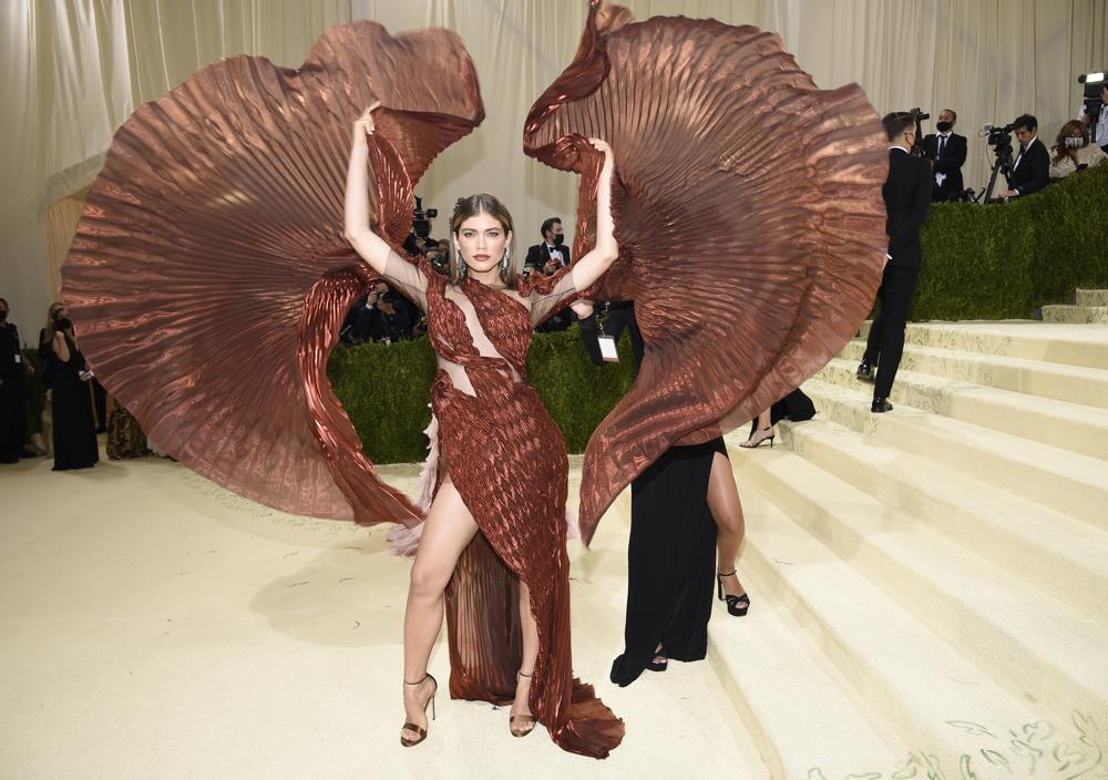 """Valentina Sampaio attends The Metropolitan Museum of Art's Costume Institute benefit gala celebrating the opening of the """"In America: A Lexicon of Fashion"""" exhibition on Monday, Sept. 13, 2021, in New York. (Photo by Evan Agostini/Invision/AP)"""