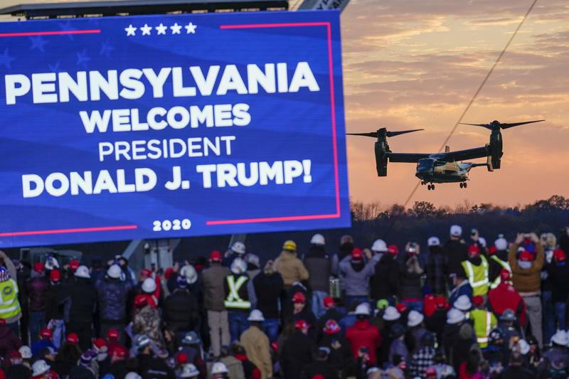 FIL - In this Oct. 31, 2020 file photo, the crowd watches one of the three Osprey aircraft escorting Marine One for a campaign stop by President Donald Trump at the Butler County Regional Airport in Butler, Pa. Pennsylvania's Republican-controlled Senate is considering an investigation into how last year's presidential election was conducted, a quest fueled by former President Donald Trump's baseless claims that fraud was behind his loss in the battleground state. (AP Photo/Keith Srakocic)