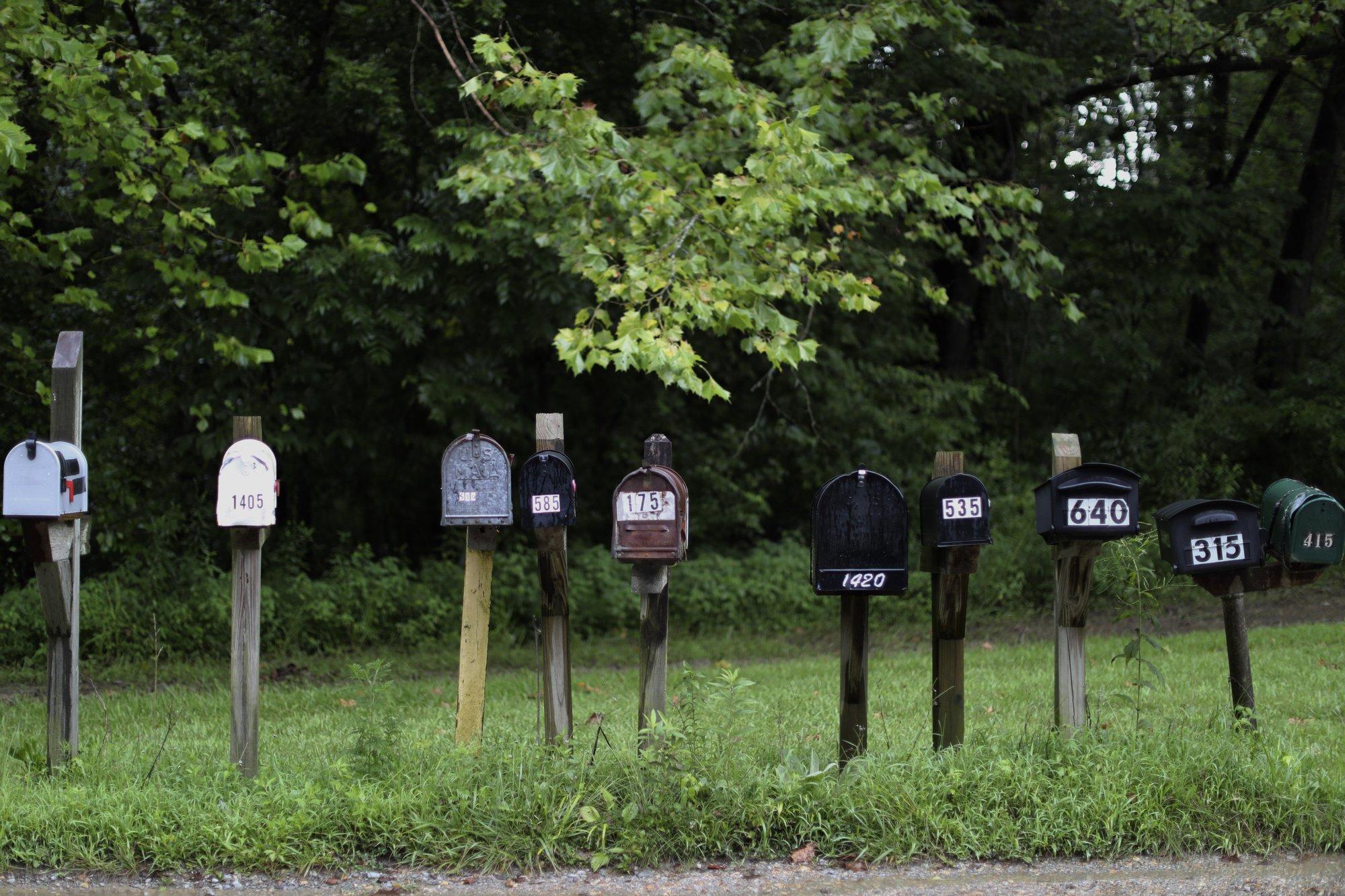 Mailboxes line a street in Jonesboro, Ill., on Sunday, Aug. 2, 2020. (AP Photo/Wong Maye-E)