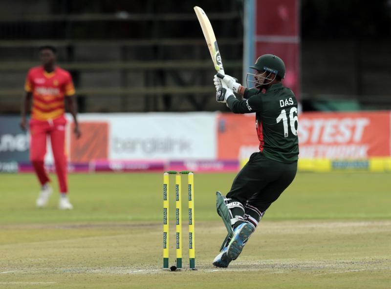 Bangladesh batsman Liton Kumar Das plays a shot during the One Day series cricket match between Zimbabwe and Bangladesh at Harare Sports Club in Harare, Friday, July 16, 2021. (AP Photo/Tsvangirayi Mukwazhi)