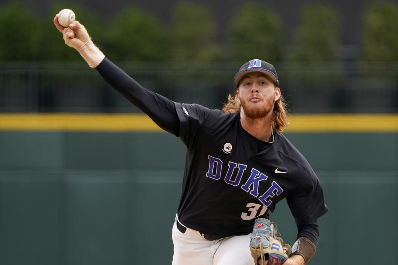 Duke pitcher Cooper Stinson throws against North Carolina State in the first inning of an NCAA college baseball game at the Atlantic Coast Conference championship game on Sunday, May 30, 2021, in Charlotte, N.C. (AP Photo/Chris Carlson)